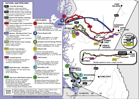 BC pipeline & LNG map