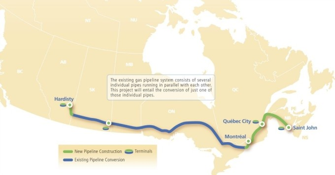 Proposed route of TransCanada's Energy East Pipeline