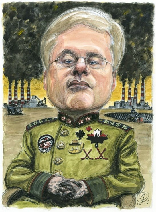 """Michael Harris: """"There is something very Stalinesque about Harper"""" -- illus by Victor Juhasz, National Observer"""