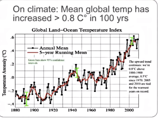 Mean global temperature