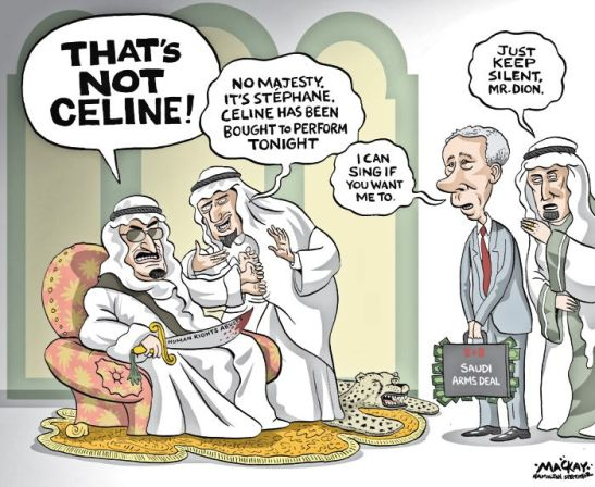 "Editorial Cartoon by Graeme MacKay, The Hamilton Spectator Thursday March 31, 2016 Cancelling Saudi arms deal would have no effect on human rights: Dion Foreign Affairs Minister Stéphane Dion is defending a controversial $15-billion arms deal with Saudi Arabia by saying cancelling it would be a futile gesture because another country would simply supply the combat vehicles to Riyadh instead. ""It would not have an effect on human rights in Saudi Arabia,"" Mr. Dion predicted, if the Liberals were to scrap a 14-year lucrative contract to build fighting machines that will be equipped with machine guns or anti-tank weapons. International censure of Saudi Arabia is on the increase as rights groups decry an erosion of human rights under the current leadership there. Only two weeks ago, the Dutch parliament voted to stop arms shipments to Saudi Arabia, and in February, the European Parliament passed a motion calling for the suspension of weapons sales to Riyadh. Mr. Dion used a Monday speech on the Liberals' foreign policy to mount a hard-nosed defence of what is Canada's largest-ever manufacturing contract – a transaction that was brokered by Ottawa under the former Conservative government and will benefit defence contractor General Dynamics' London, Ont., plant until 2028. ""Riyadh does not care if the equipment comes from a factory in Lima, Ohio or Sterling Heights, Mich., rather than one in London, Ont.,"" Mr. Dion said, naming American cities where military suppliers such as General Dynamics have a presence. More than 2,000 workers in Canada would lose their jobs if the government cancelled the deal, the minister predicted. Louise Arbour, a former United Nations High Commissioner for Human Rights who once sat on the Supreme Court of Canada, was in the audience for Mr. Dion's speech, and she said the contention that some other country would just take over the contract is ""the weakest argument"" that could be made. ""This argument that if we don't do it somebody else will do it I find, frankly, the least convincing,"" she said. ""It is not infused with moral, ethical values."" She said there are better reasons to justify sticking with the Saudi deal and would like to see Mr. Dion ""do a balancing of consequences,"" such as reputational, financial, jobs and the impact of doing nothing at all, including ""Canada being seen as validating a regime that is at odds with a lot of Canadian values."" Ms. Arbour said she hopes the federal government applies more rigour to examining weapons export permits, as it has repeatedly promised. (Source: Globe & Mail) http://www.theglobeandmail.com/news/politics/cancelling-saudi-arms-deal-would-have-no-effect-on-human-rights-dion/article29427814/ Canada, Human rights, Stephane Dion, arms, deal, armoured trucks, military, foreign, affairs, Saudi Arabia, diplomacy"