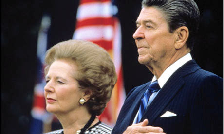 Margaret Thatcher and Ronald Reagan, neoliberalism's two greatest champions