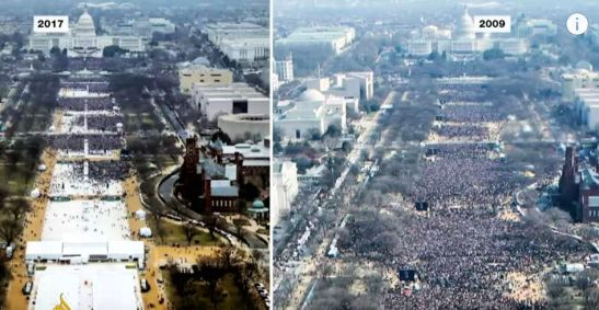 Trump crowd on left, Obama's on right